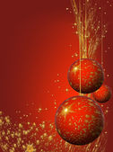 Christmas decorating bulbs and stardust — Stock Photo