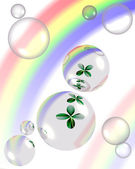 Shamrock and bubbles with rainbow — Stock Photo