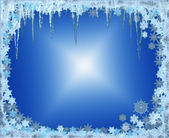 Frosty Christmas frame with snowflakes — Stock Photo