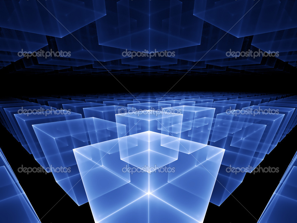 Abstract illustration of blue cubes horizon, perspective view   — Stock Photo #1800491