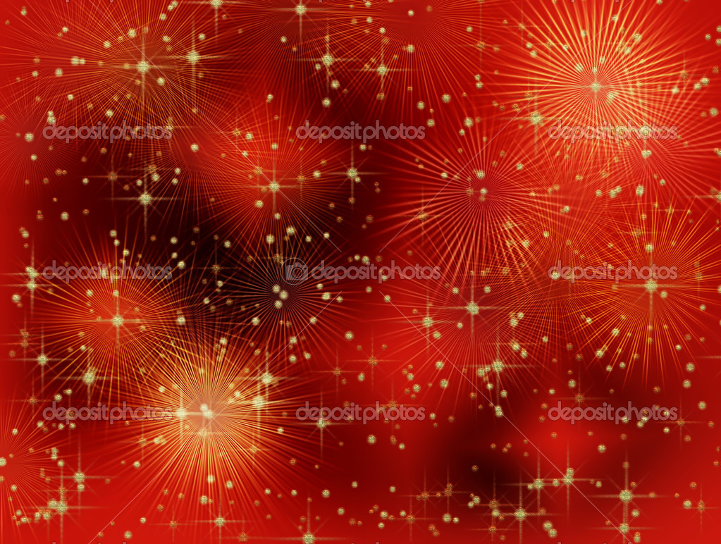 Starry red Christmas background with rays — Stock Photo #1806252