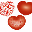 Three red hearts over white background — Foto de Stock