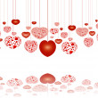 Red hearts on strings reflecting - Stock Photo