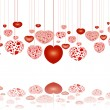 Red hearts on strings reflecting — Stockfoto