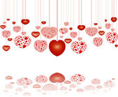Red hearts on strings reflecting — Stock Photo