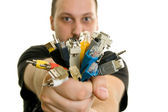 Man holding bunch of cables — Stock Photo