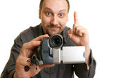 Man shoots video with a camera — Stock Photo
