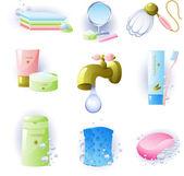 Juego de accesorios para la higiene personal — Vector de stock