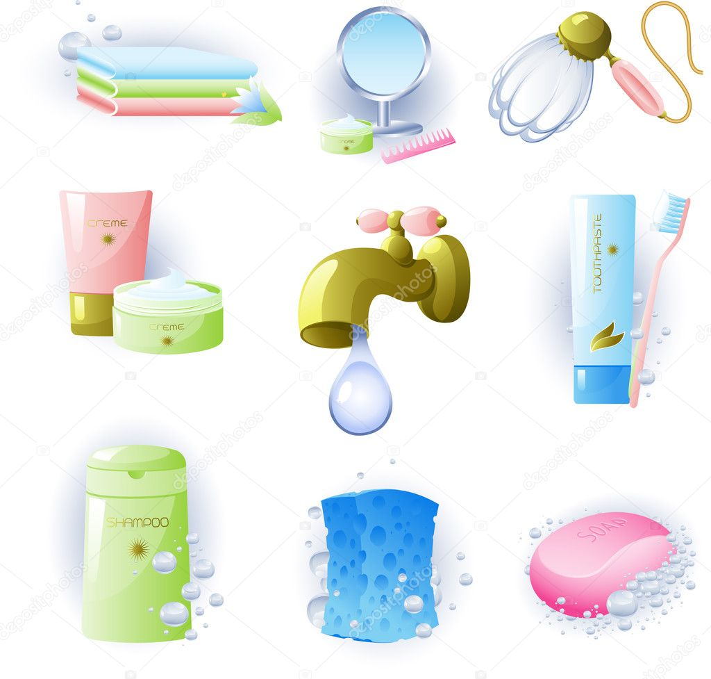 Set Of Accessories For Personal Hygiene Stock Vector