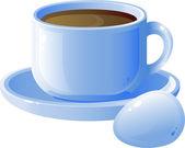 Tazza di caffè e uovo — Vettoriale Stock
