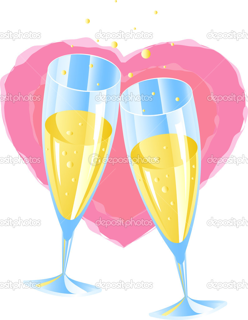 Two glasses of champagne, heart — Stock Vector #1830134