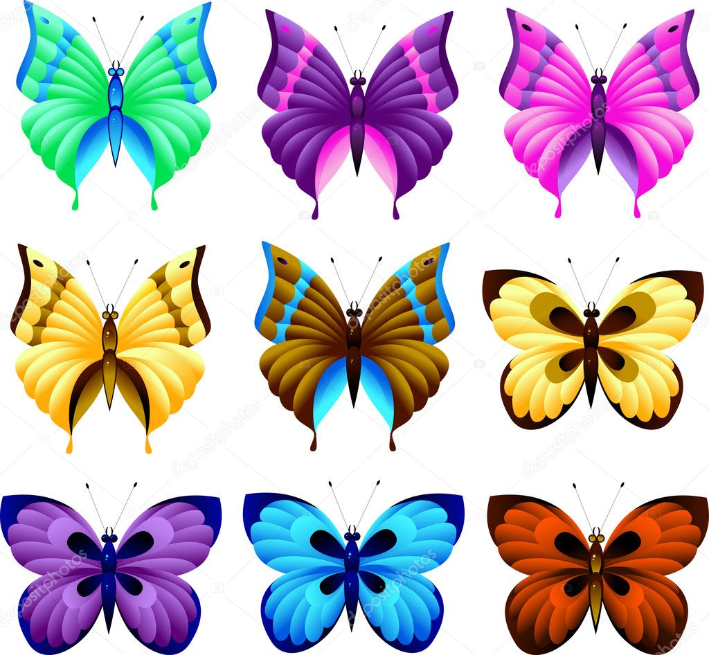 Set of butterfly, isolated on white, EPS 8, AI, JPEG — Stock Vector #1838472