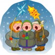 Children sing a Christmas song - Stock Vector