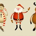 Santa Claus, snowman, reindeer — Stock Vector