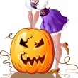 Stock Vector: Halloween girl whith pumpkin