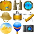Adventures icon set — Stock Vector