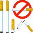 Stock Vector: Cigarette set