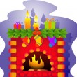 Stock Vector: Vector Christmas Fireplace