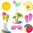 Vacation and travel icon set - Imagens vectoriais em stock