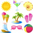 Vacation and travel icon set - Stok Vektör