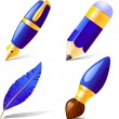 Stock Vector: Pencil, pen, brush, feather.