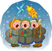 Children sing a Christmas song — Stock Vector