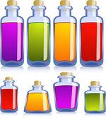 Collectie van verschillende flessen — Stockvector