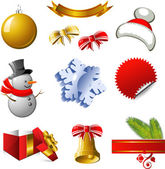 New Year and Christmas design elements — Vector de stock