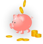 Pig and coins — Stock Vector