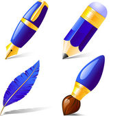 Pencil, pen, brush, feather. — Vector de stock