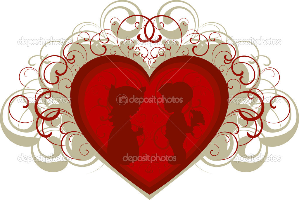 Silhouette of a boy and girl on the background of the heart. EPS 8, JPEG, AI — Stock Vector #1850650