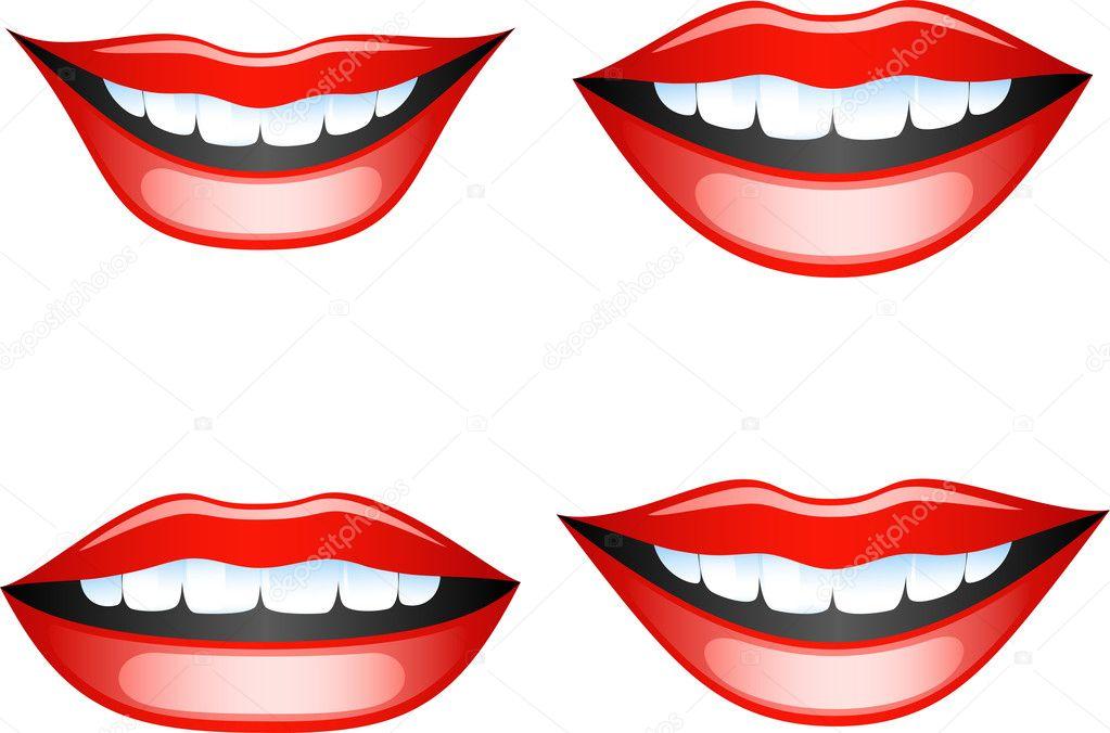 矢量图像微笑着女性的嘴唇.上白色孤立