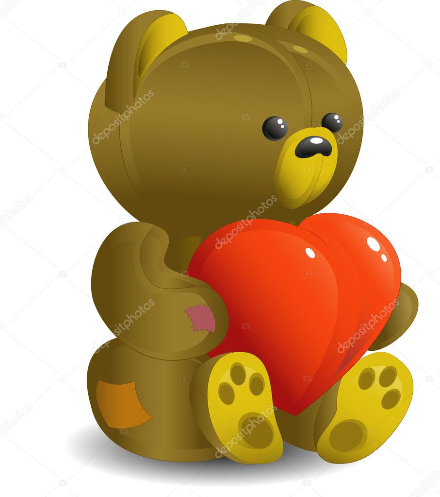Bear with red heart, isolated, EPS 8, JPEG, AI — Stock Vector #1852700
