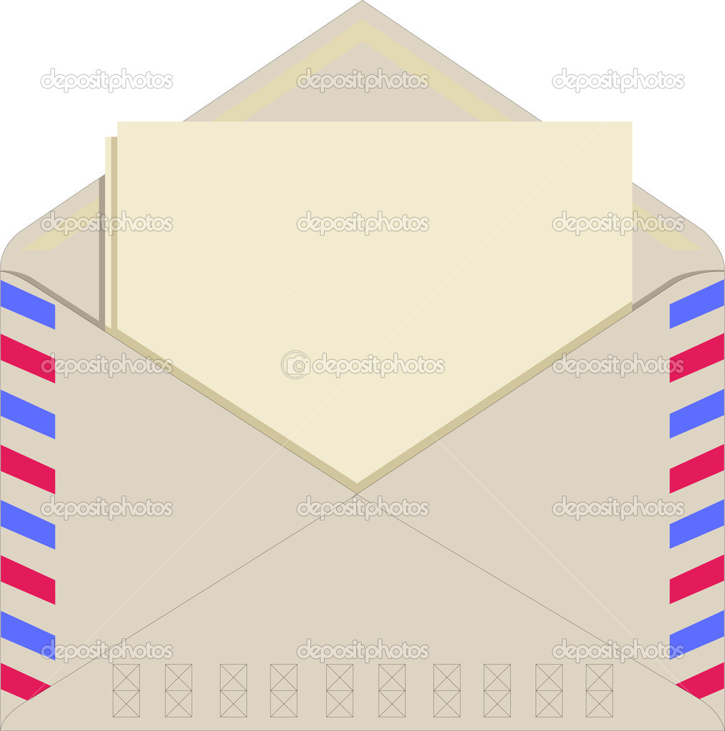 Paper in an envelope, blank paper for your own text, isolated — Stock Vector #1853461