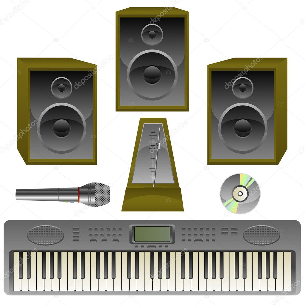 Musik set, loud speaker, metronome, Microphone, cd, isolated on white, vector, eps 8 format — Stock Vector #1853537