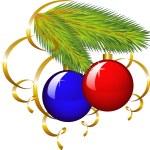 il ramo di un albero di Natale con pape — Vettoriale Stock