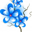 Branch with pink blue flowers — Stock Vector