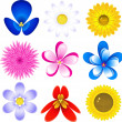Flowers icon set — Stockvectorbeeld