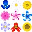 Flowers icon set — Stock Vector