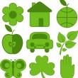 Set of nine ecology icons — Stock Vector