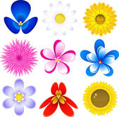 Flowers icon set — Stock Vector