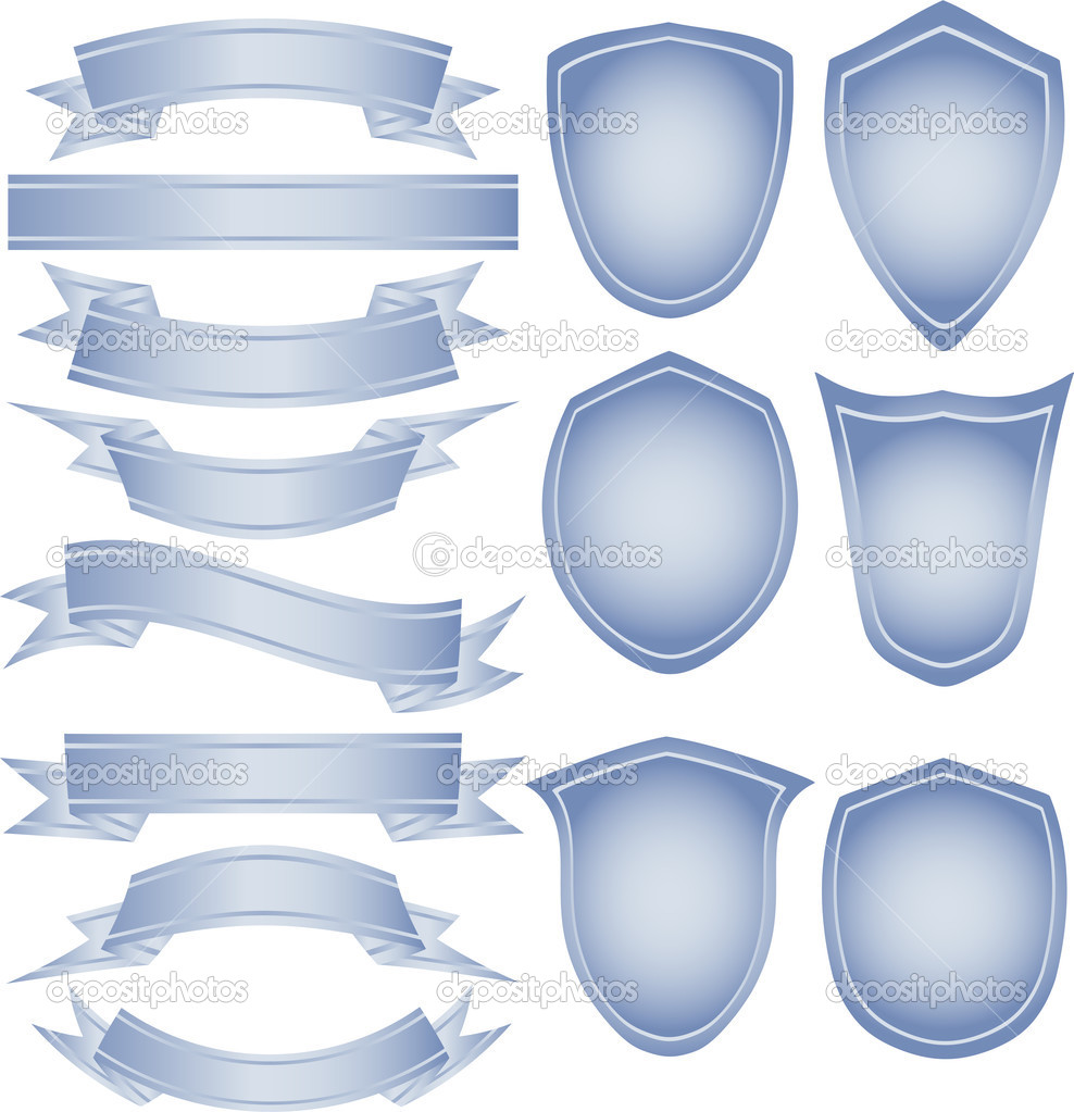 Set of vector tapes and shields for your own logo. EPS 8, AI, JPEG  Stock Vector #1928335