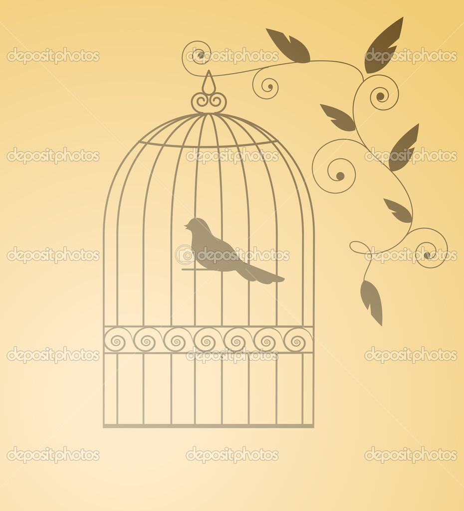 Silhouette birds in a cage. Isolated. EPS 8, AI, JPEG — Stock Vector #1959150