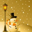 Snowman stands under a lamp on a snowy e - Stock Vector