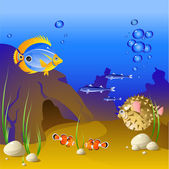 The underwater world of tropical fish. — Stock Vector