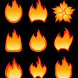 Set of vector fire - Stock Vector
