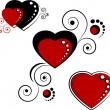 Hearts, design elements — Stock Vector