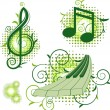 Musical signs with floral elements — Stock Vector #2012724