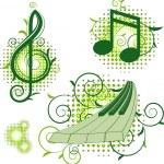 hudební značky s květinové prvky — Stock vektor