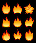 Set of vector fire — Stock Vector